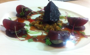 Marinated beetroot and Gorgonzola salad, walnut crumble, rocket and red chard
