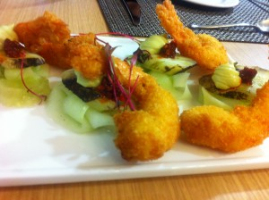 Crispy prawn and vegetables, served with harissa and guacamole