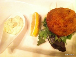 fish cake with egg and caper mayo