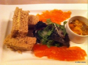 salmon three ways at Gadds Town house restaurant