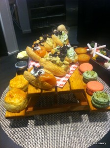 afternoon tea served on a minature picnic table