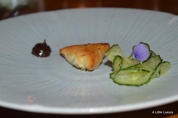 smoked duck samosa