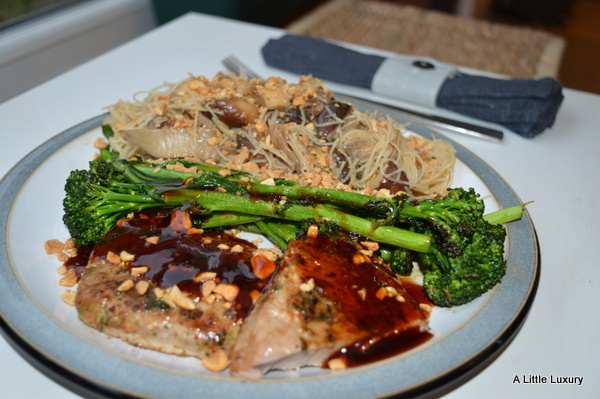 pan fried tuna with stir fried vegetables and rice noodles