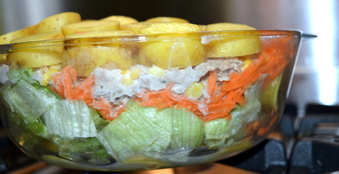 A Layered Salad with Cypriot New Potatoes