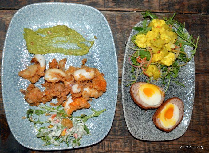 Calamari and Scotch Egg