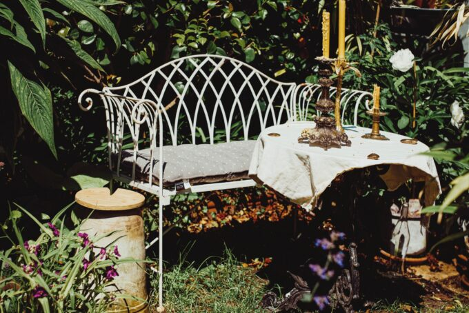 Garden seat with table set for dinner